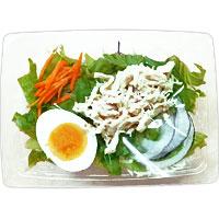 ファミマ半熟卵と蒸し鶏サラダ